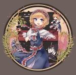 >o< 1girl absurdres alice_in_wonderland alice_margatroid apron arms_up asymmetrical_bangs bangs black_border black_hat blonde_hair blue_bow blue_dress blue_eyes border bow bowtie capelet card character_request chinese_commentary clenched_teeth commentary_request cowboy_shot crown diamond_(symbol) dress epaulettes evil_grin evil_smile eyebrows_visible_through_hair eyelashes facial_hair floating frilled_apron frilled_dress frilled_hairband frilled_sash frills grey_background grin hair_bow hairband hand_on_own_stomach hat hat_bow hat_feather heart helmet highres holding holding_sword holding_weapon long_hair looking_afar looking_at_viewer mad_hatter matching_shanghai mofashi_beibei mustache open_mouth parted_bangs petticoat pigeon-toed pixelated pixels plant playing_card pointing pointing_forward rapier red_bow red_hairband red_neckwear red_sash red_scarf sash scarf shanghai_doll short_hair slit_pupils smile solo spade_(shape) string sword teeth tongue top_hat touhou two-tone_background upper_teeth waist_apron weapon |_|