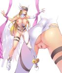 1girl angewomon artist_request bandai bare_shoulders blonde_hair blush breasts censored cleavage curvy digimon female full_body helmet huge_ass large_breasts leotard leotard_aside long_hair nipplsnavel puffy_nipples pussy shiny_skin solo standing thick_thighs thighs wings