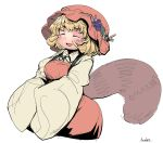 1girl :d aki_minoriko anchors artist_name bangs blonde_hair blush breasts collared_shirt dress eyebrows eyebrows_visible_through_hair eyes_closed food fruit grapes hat hat_leaf highres leaf long_sleeves medium_breasts open_mouth orange_dress orange_hat orange_shirt raccoon_tail ribbon shirt short_hair simple_background smile solo tail touhou undershirt white_background wide_sleeves yellow_shirt