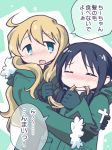 2girls biting_hair black_hair blonde_hair blue_eyes blush chito_(shoujo_shuumatsu_ryokou) drunk eyes_closed fur_trim gloves hug military military_uniform multiple_girls ootsuka_ushio shoujo_shuumatsu_ryokou translation_request uniform yuri yuuri_(shoujo_shuumatsu_ryokou)