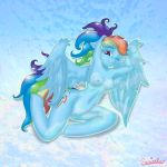 2013 anthro anthrofied blue_feathers blue_fur breasts cutie_mark equine feathered_wings feathers female friendship_is_magic fur hair hi_res mammal multicolored_hair my_little_pony one_eye_closed pegasus purple_eyes pussy rainbow_dash_(mlp) rainbow_hair solo swissleos wings wink