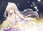 1girl azur_lane bouquet breasts bride cleavage closed_mouth commentary_request crown detached_collar dress enterprise_(azur_lane) feathers floating_hair flower jewelry large_breasts long_hair looking_at_viewer necklace pink_hair purple_eyes rose sibyl smile solo standing veil wedding_dress white_dress white_flower white_rose