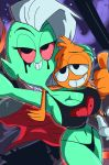 alien bed breasts cleavage clothed clothing disney duo female green_skin hi_res lord_dominator male ninjaspartankx5 not_furry red_eyes selfie smile space thong thumbs_up wander wander_over_yonder