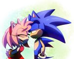 amy_rose anthro black_nose clothing duo female gloves green_eyes hair hairband hedgehog male mammal pink_hair short_hair sonic_(series) sonic_the_hedgehog video_games ナオミコミ
