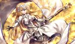 1girl armor armored_dress bangs banner bare_shoulders black_gloves black_legwear blonde_hair blue_eyes blurry blurry_background blush breasts chains cleavage cleavage_cutout closed_mouth collarbone commentary_request dress elbow_gloves elbow_pads eyebrows_visible_through_hair fate/grand_order fate_(series) faulds floating_hair fur-trimmed_gloves fur-trimmed_legwear fur_trim gabiran gauntlets gloves greaves headpiece holding holding_spear holding_weapon jeanne_d'arc_(fate) jeanne_d'arc_(fate)_(all) lens_flare light_particles light_trail long_dress long_hair looking_at_viewer medium_breasts one_leg_raised orange_background orange_ribbon outstretched_arm plackart polearm ribbon sheath sheathed shiny shiny_hair smile solo spear standard_bearer sword thighhighs underbust very_long_hair weapon white_dress wind yellow_background