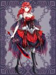 1girl black_footwear black_legwear blue_eyes breasts dress full_body gothic_lolita high_heels holding holding_sword holding_weapon kerberos_blade large_breasts lolita_fashion long_hair official_art pointy_ears red_dress red_hair solo standing sword usagiya_koharu weapon