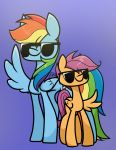 2018 cutie_mark deadxqueen duo equine eyewear feathered_wings feathers female feral friendship_is_magic hair mammal multicolored_hair my_little_pony pegasus pose purple_background rainbow_dash_(mlp) rainbow_hair scootaloo_(mlp) simple_background smile sunglasses wings