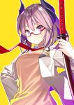 1girl at-yui azur_lane bangs blush commentary_request eyebrows_visible_through_hair glasses hair_between_eyes highres holding holding_sword holding_weapon horns katana kirishima_(azur_lane) long_hair looking_at_viewer necktie outline pink_hair purple_eyes red-framed_eyewear red_neckwear semi-rimless_eyewear short_hair smile solo sword vest weapon white_outline yellow_background