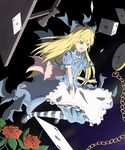 alice_(wonderland) alice_in_wonderland blonde_hair board_game bow card chain chains chess colored dice falling_card female flower full_body gradient gradient_background green_eyes hair_bow highres long_hair nogisaka_kushio nogizaka_kushio pocket_watch rose solo watch