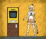 1girl arcade_cabinet arm_at_side atari black_eyes blonde_hair brand_name_imitation closed_mouth clothes_writing commentary_request crack egyptian_art from_side full_body highres jaguar_(kemono_friends) jaguar_ears jaguar_print jaguar_tail kemono_friends kita_(7kita) legs_apart pleated_skirt pong profile pun shirt short_hair short_sleeves skirt solo standing thighhighs towel towel_around_neck white_footwear white_shirt yellow_background zettai_ryouiki