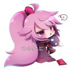 1girl ahoge bangs black_cape black_legwear blush cape character_request chestnut_mouth commentary_request eyebrows_visible_through_hair hair_between_eyes hair_ornament head_tilt high_ponytail holding holding_stuffed_animal long_hair looking_at_viewer looking_back muuran open_mouth pink_hair ponytail purple_eyes sample shironeko_project sidelocks simple_background sitting solo stuffed_animal stuffed_toy thighhighs very_long_hair white_background