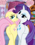 2015 big_butt blue_eyes butt butt_bump cutie_mark dock duo equine female feral fluttershy_(mlp) friendship_is_magic hair hi_res horn horse inside looking_at_viewer looking_back makeup mammal my_little_pony pink_hair pony presenting presenting_hindquarters purple_hair raised_tail rarity_(mlp) shutterflyeqd smile unicorn white_body yellow_body
