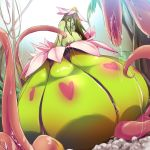 alraune areola big_breasts breasts female flora_fauna flower green_hair hair humanoid kawaisaw lactating licking licking_lips monster_girl_(genre) nipples not_furry nude plant skull slime solo tentacles tongue tongue_out