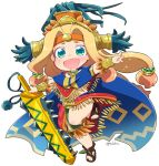 1girl :d aztec bead_necklace beads blonde_hair blue_cape blush bracer brown_footwear cape chibi chin_piercing fang fate/grand_order fate_(series) feathers full_body green_eyes hair_beads hair_intakes hair_ornament headband headdress holding holding_sword holding_weapon jewelry leg_up loincloth long_hair low-tied_long_hair miniskirt neck_ring necklace open_mouth piercing poncho quetzalcoatl_(fate/grand_order) red_skirt sandals simple_background skirt smile solo standing standing_on_one_leg sword tsukko_(3ki2ne10) twitter_username very_long_hair weapon white_background
