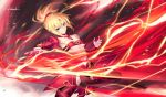 1girl black_legwear blonde_hair breasts clarent detached_sleeves fate/apocrypha fate/grand_order fate_(series) flashing green_eyes kousaki_rui lightning_bolt mordred_(fate) mordred_(fate)_(all) ponytail red_scrunchie scrunchie stomach sword weapon