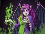 2005 breasts clothed clothing digital_media_(artwork) faerie_(neopets) female green_hair green_lips hair humanoid looking_at_viewer membranous_wings multicolored_hair neopets official_art purple_eyes purple_hair purple_sclera purple_skin purple_wings simple_background solo wings