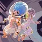 2girls absurdres ass blue_hair breasts brown_hair butt_crack fengmo_bojue floating full_body hair_between_eyes highres looking_back multiple_girls open_mouth original short_hair small_breasts space_helmet spacesuit zero_gravity