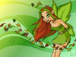 2006 4:3 abstract_background belt breasts brown_hair choker clothing digital_media_(artwork) dress faerie_(neopets) female freckles green_eyes green_hair green_lips green_pupils green_sclera green_wings hair humanoid illusen leaf looking_at_viewer multicolored_hair neopets not_furry official_art smile solo winged_humanoid wings