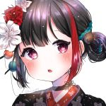1girl :o bang_dream! black_choker black_hair blush choker dan_lang eyebrows_visible_through_hair flower hair_between_eyes hair_flower hair_ornament hair_stick hair_up hanbok head_tilt korean_clothes looking_at_viewer mitake_ran multicolored_hair portrait red_eyes shiny shiny_hair short_hair simple_background solo streaked_hair twitter_username upper_body white_background