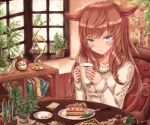 1girl :3 animal_ears bangs blunt_bangs blush book bookshelf cake cat_ears cat_tail chair clock coffee_mug collarbone creamer_(vessel) cup day desk_lamp eyebrows_visible_through_hair file_cabinet food fork holding holding_cup indoors kyuumoto_kuku lamp long_hair long_sleeves looking_at_viewer menu mug original plant plate potted_plant red_hair restaurant signature silver_hair sitting slit_pupils solo spoon sweater table tail test_tube white_sweater window