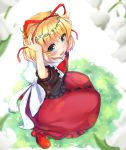1girl :d arms_up bangs blonde_hair blue_eyes blurry blurry_foreground blush bow brown_shirt commentary_request depth_of_field eyebrows_visible_through_hair fingernails flower flower_wreath fukiaki grass hair_between_eyes hair_ribbon head_wreath highres looking_at_viewer looking_to_the_side looking_up medicine_melancholy on_grass open_mouth puffy_short_sleeves puffy_sleeves red_footwear red_ribbon red_skirt ribbon shirt short_hair short_sleeves sitting skirt smile solo touhou wariza white_bow white_flower