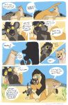 brown_fur comic feline female feral fur hyena laphund lion male mammal orange_fur red_eyes spots spotted_fur tan_fur text