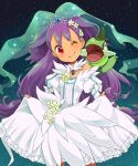 1girl axew big_hair blush bridal_veil dress dress_lift gen_5_pokemon head_tilt iris_(pokemon) long_hair one_eye_closed pokemon pokemon_(anime) pokemon_(game) pokemon_bw purple_hair red_eyes sasairebun sky smile solo star_(sky) starry_sky tiara veil very_long_hair wedding_dress