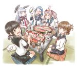 :d :p animal animal_on_head bangs batsubyou black_hair black_legwear black_skirt blue_gloves blue_hair blue_skirt brown_eyes brown_hair bunny chopsticks dress elbow_gloves eyebrows_visible_through_hair eyes_closed folded_ponytail food fubuki_(kantai_collection) gloves gradient_hair green_eyes hair_bobbles hair_ornament hair_ribbon headgear holding holding_chopsticks holding_food inazuma_(kantai_collection) kantai_collection karasu_(naoshow357) kneehighs long_hair looking_at_viewer low_ponytail multicolored_hair murakumo_(kantai_collection) necktie no_shoes on_head open_mouth orange_eyes pink_eyes pink_hair pleated_skirt puffy_short_sleeves puffy_sleeves red_neckwear remodel_(kantai_collection) ribbon sailor_dress samidare_(kantai_collection) sazanami_(kantai_collection) school_uniform seiza serafuku shirt short_eyebrows short_hair short_ponytail short_sleeves sidelocks silver_hair sitting skirt sleeping sleeveless sleeveless_shirt smile socks soy_sauce sushi swept_bangs table tongue tongue_out tress_ribbon twintails wasabi wavy_mouth zabuton