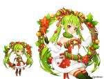 1girl aki_no_jikan arms_at_sides bare_shoulders bow detached_sleeves earrings elf flower green_hair green_legwear hair_ornament hair_rings holly jewelry long_hair looking_at_viewer maru-kichi multiple_views official_art poinsettia pointy_ears red_bow red_eyes sitting skirt standing star star_hair_ornament striped striped_skirt thighhighs twintails watermark wreath