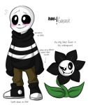 alternate_universe altertale animated_skeleton blush bone clothed clothing digital_media_(artwork) english_text flower friisans gaster hi_res leaf legwear long_sleeves male not_furry pants plant skeleton skull smile sneakers sweater text undead undertale video_games
