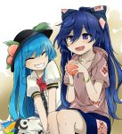 2girls :d bangle black_hat blouse blue_bow blue_eyes blue_hair blue_skirt blush bow bracelet collarbone commentary_request debt eyebrows_visible_through_hair eyes_closed facing_another food frilled_blouse fruit gradient gradient_background grey_hoodie grin hair_between_eyes hair_bow hat hinanawi_tenshi holding holding_fruit hood hoodie jewelry leaf long_hair multiple_girls neck_bow open_mouth peach puffy_short_sleeves puffy_sleeves red_bow red_neckwear short_sleeves skirt smile touhou two-tone_background tyouseki v_arms very_long_hair white_background white_blouse yellow_background yorigami_shion