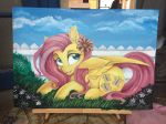 2016 4:3 blue_eyes cutie_mark day dennyvixen equine feathered_wings feathers female fence feral flower fluttershy_(mlp) friendship_is_magic fur grass hair hooves lying mammal my_little_pony open_mouth outside painting_(artwork) pegasus pink_hair plant sky smile solo tongue traditional_media_(artwork) wings yellow_feathers yellow_fur