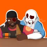 2015 alcohol animated_skeleton anthro anthrofied beanie beard beer beverage bone bottle clothing crossover demoman_(team_fortress_2) drunk duo explosives eye_patch eyewear facial_hair grenade hat hi_res holding_bottle holding_object hoodie male not_furry sans_(undertale) skeleton team_fortress_2 trandafilov undead undertale valve video_games weapon