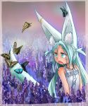 1girl :o animal_ears bare_arms bare_shoulders blue_eyes blue_hair bug butterfly child commentary_request doitsuken dress earrings eyebrows_visible_through_hair fang field flower flower_field fox_ears fox_girl fox_tail highres insect jewelry lavender_(flower) looking_away looking_back necklace open_mouth original solo sundress tail