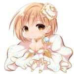 1girl bangs blush breasts brown_eyes chibi cleavage closed_mouth commentary_request cosplay djeeta_(granblue_fantasy) dress eyebrows_visible_through_hair flower granblue_fantasy hair_between_eyes hair_flower hair_ornament highres large_breasts light_brown_hair looking_at_viewer mofuaki rose simple_background smile solo strapless strapless_dress the_glory the_glory_(cosplay) thighhighs white_background white_dress white_flower white_legwear white_rose