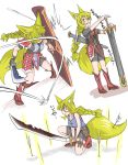 1girl :d absurdres animal_ears arrow blonde_hair boots braid commentary_request doitsuken fang faulds fox_ears fox_tail hair_between_eyes hair_over_one_eye hands_on_hilt highres holding holding_shield holding_weapon knee_boots long_hair multiple_views one_eye_covered one_knee open_mouth original parted_lips red_eyes scabbard scimitar sheath shield single_braid smile sword tail two-handed weapon