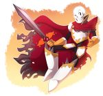 alternate_universe animated_skeleton armor bone boots cape clothed clothing fantasytale footwear gloves hi_res le-poofe male melee_weapon not_furry papyrus_(undertale) skeleton skull smile sword undead undertale video_games weapon