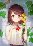 1girl bangs bow eyebrows_visible_through_hair flower hair_over_shoulder looking_at_viewer omelet_tomato original plant rain red_bow school_uniform sleeves_rolled_up smile solo tears upper_body wall wet yellow_eyes