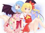2girls :d :o back-to-back bat_wings blonde_hair blouse blue_background blue_hair cravat eyebrows_visible_through_hair fang feet_out_of_frame flandre_scarlet gradient gradient_background hair_between_eyes knees_up legs_up looking_at_viewer looking_back multiple_girls no_headwear open_mouth pink_blouse pink_skirt puffy_short_sleeves puffy_sleeves red_eyes red_neckwear red_skirt red_vest remilia_scarlet short_hair short_sleeves siblings sisters sitting skirt smile star starry_background tosakaoil touhou vest wings wrist_cuffs yellow_neckwear
