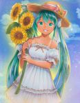 1girl :d absurdres blue_sky bow cloud collar collarbone cowboy_shot day detached_sleeves dress eyebrows_visible_through_hair flower green_eyes green_hair grin hair_between_eyes hair_bow hat hat_flower hat_ribbon hatsune_miku highres holding holding_flower long_hair looking_at_viewer mayo_riyo open_mouth outdoors ribbon ribbon-trimmed_dress ribbon-trimmed_sleeves ribbon_trim sky sleeveless sleeveless_dress smile solo standing strapless strapless_dress straw_hat sundress sunflower tan tanline twintails very_long_hair vocaloid white_bow white_dress yellow_flower yellow_hat
