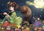 1girl animal_ears bell blue_flower bracelet brown_eyes brown_hair egasumi floral_print flower full_moon futatsuiwa_mamizou glasses green_flower green_kimono holding japanese_clothes jewelry jingle_bell kimono kiseru leaf leaf_on_head light_smile looking_at_viewer moon night night_sky obi oriental_umbrella outdoors pink_flower pipe purple_flower raccoon_ears raccoon_tail red_flower sash semi-rimless_eyewear sen1986 sky solo tail touhou umbrella under-rim_eyewear wide_sleeves