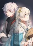 1boy 1girl anastasia_(fate/grand_order) bags_under_eyes bangs black_shirt blue_cloak blue_eyes brown_eyes cloak commentary_request copyright_name cover cover_page eyebrows_visible_through_hair fate/grand_order fate_(series) fur-trimmed_jacket fur-trimmed_sleeves fur_trim grey_jacket hair_between_eyes holding jacket kadoc_zemlupus light_brown_hair long_hair neck_piercing niu_illuminator open_clothes open_jacket profile shirt silver_hair very_long_hair