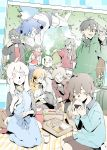 5boys 5girls ahoge amamiya_hibiya bird black_eyes black_hair blonde_hair blue_eyes blue_hair brown_eyes brown_hair cellphone chopsticks colored_eyelashes cup dress drinking eating ene_(kagerou_project) eyes_closed floating food fork green_eyes green_hair hair_ornament hairband hairclip headphones highres hood hoodie jacket jersey kagerou_project kano_shuuya kido_tsubomi kisaragi_momo kisaragi_shintarou konoha_(kagerou_project) kozakura_marry long_hair mekakucity_actors multiple_boys multiple_girls obentou onigiri open_mouth orange_hair phone photo_(object) picnic pink_eyes ponytail pout sandwich scarf seto_kousuke shizu_(9394marimo) short_hair shorts skirt smartphone smile sweater tateyama_ayano twintails white_hair yellow_eyes