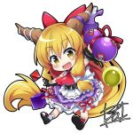 1girl :d arm_up bangs black_footwear blonde_hair blush bow chains chibi commentary_request cuffs eyebrows_visible_through_hair fang frilled_skirt frills full_body gourd hair_bow holding horn_bow horns ibuki_suika long_hair looking_at_viewer open_mouth purple_bow red_bow ribbon-trimmed_skirt ribbon_trim shackles sidelocks signature simple_background skirt sleeveless smile socks solo tirotata touhou very_long_hair white_background white_legwear yellow_eyes