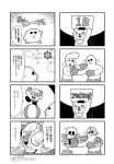 1girl 3boys 4koma :3 armor bald ball bear bkub blank_eyes boxing boxing_gloves boxing_shorts cloud comic cosplay crescent_moon emphasis_lines facial_hair goho_mafia!_kajita-kun greyscale hat holding holding_sign jacket kirby kirby_(cosplay) kirby_(series) kirby_super_star mafia_kajita marx marx_(cosplay) mechanical_arm monochrome moon multiple_4koma multiple_boys mustache one_eye_closed parody pompadour punching robotic_parts shirt shorts sign simple_background skeleton smile speech_bubble speed_lines sun sunglasses talking title translation_request two-tone_background