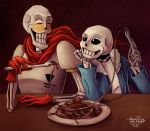 2016 animated_skeleton blush bone clothed clothing duo food male not_furry papyrus_(undertale) pasta sans_(undertale) skeleton smile spaghetti teeth undead undertale unknown_artist video_games