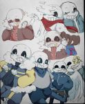 aftertale alternate_universe angeltale animated_skeleton blush bone clothed clothing feathered_wings feathers flowey_the_flower geno_sans_(aftertale) glitch gold_(metal) gold_tooth group hi_res hoodie human jacket kissing male mammal not_furry outertale protagonist_(undertale) sans_(undertale) scarf sharp_teeth shy skeleton skull smile sweater teeth undead underfell underswap undertale video_games vines wings wounded yaya0709