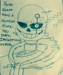 animated_skeleton bone chappietriggerhappy clothed clothing cputale english_text glitch hi_res hoodie male markings not_furry sans_(undertale) skeleton skull smile text undead undertale video_games