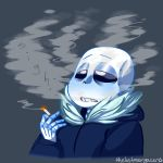 animated_skeleton bone cigarette clothed clothing hi_res hoodie humanoid male not_furry sans_(undertale) skeleton smoke smoking solo text thelostmoongazer undead undertale video_games