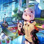 1girl balloon bangs bathtub black_jacket blunt_bangs blush bob_cut book bookend bookshelf breasts ceiling_fan chair claw_foot_bathtub closed_mouth coffee coffee_mug collarbone commentary_request constellation_print cup curtains desk drawing_tablet drawstring eyebrows_visible_through_hair fuji_choko hair_ornament hanging_light headphones headphones_around_neck holding holding_cup hood hood_down hoodie indoors jacket lavender_hair long_sleeves looking_at_viewer medium_breasts monitor mug multicolored_hair off_shoulder office_chair open_clothes open_jacket original pink_eyes pink_hair plant potted_plant railing short_hair shorts silver_hair slipper_bathtub smile solo standing streaked_hair stuffed_animal stuffed_cat stuffed_duck stuffed_toy tablet two-tone_hair wide_sleeves window yellow_hoodie zipper